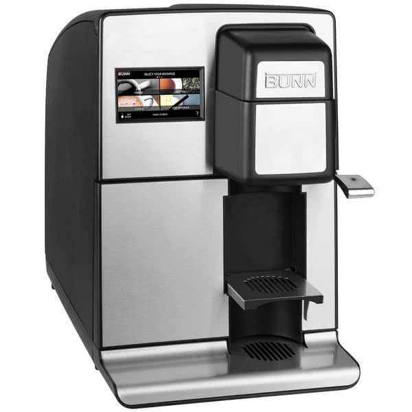 Bunn My Cafe MCO Single Serve Cartridge Automatic Brewer filter coffee machine for the home right side view black and silver model