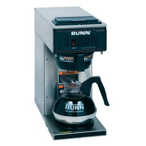 Bunn One Station Pourover round filter coffee machine with branded flask right side view black and silver model