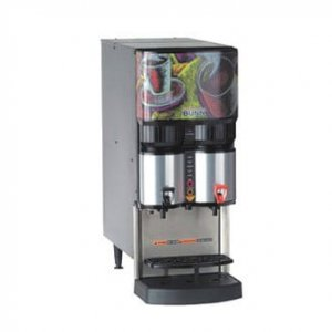 Bunn speciality commercial liquid coffee machine right side view silver and black model with design panel
