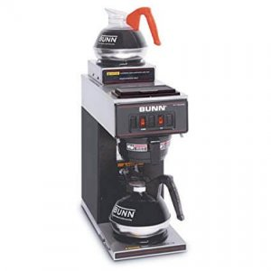 Bunn Two Station Pourover round filter coffee machine with two flasks and heated plates right side view black model
