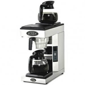 Coffee Queen A-2 commercial filter coffee machine with two flasks left side view silver model
