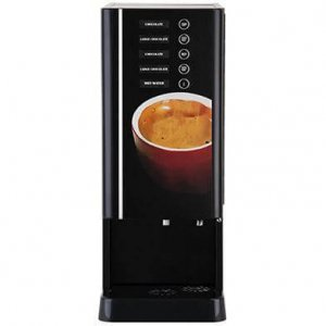 Coffee Queen Cafelino Duo commercial coffee machine front view black model with coloured design panel