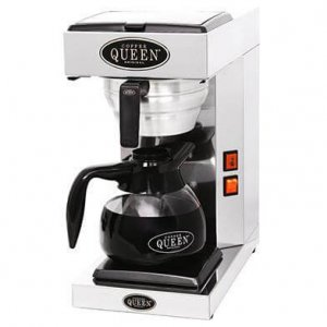 Coffee Queen M-1 commercial filter coffee machine single flask left side view close up black and silver model