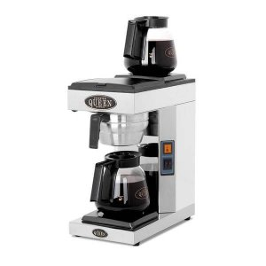 Coffee Queen M 2 commercial filter coffee machine with heated plate and two flasks left side view black and silver model