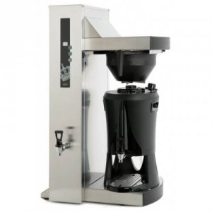 Coffee Queen Single Tower round filter coffee machine left side view chrome and black model
