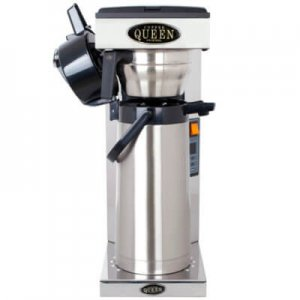 Coffee Queen Thermos A round filter coffee machine with flask front view chrome model