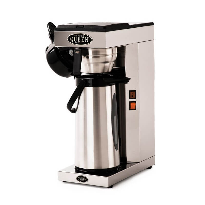 Coffee Queen Thermos M round filter coffee machine with flask chrome model left side view