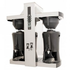 Coffee Queen Tower round filter coffee machine left side view black and silver model