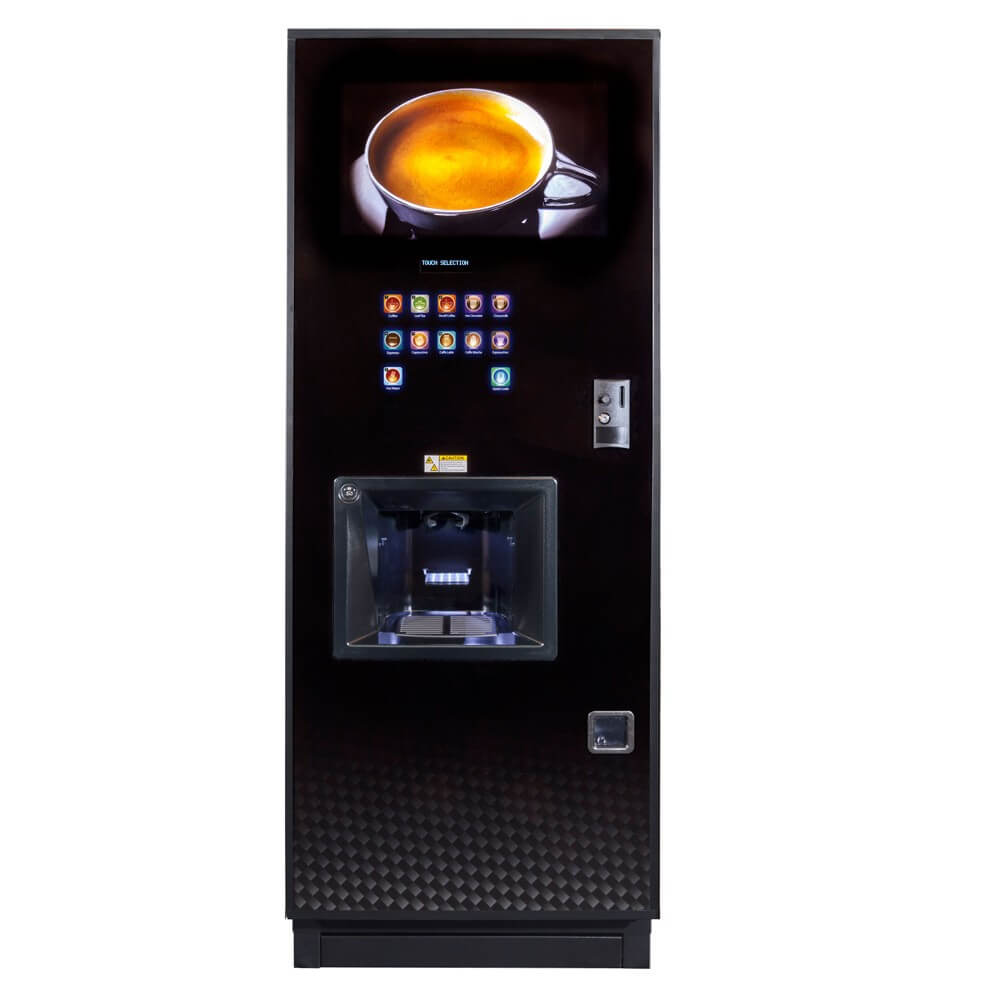 Coffetek Neo office coffee machine front view black model with payment system