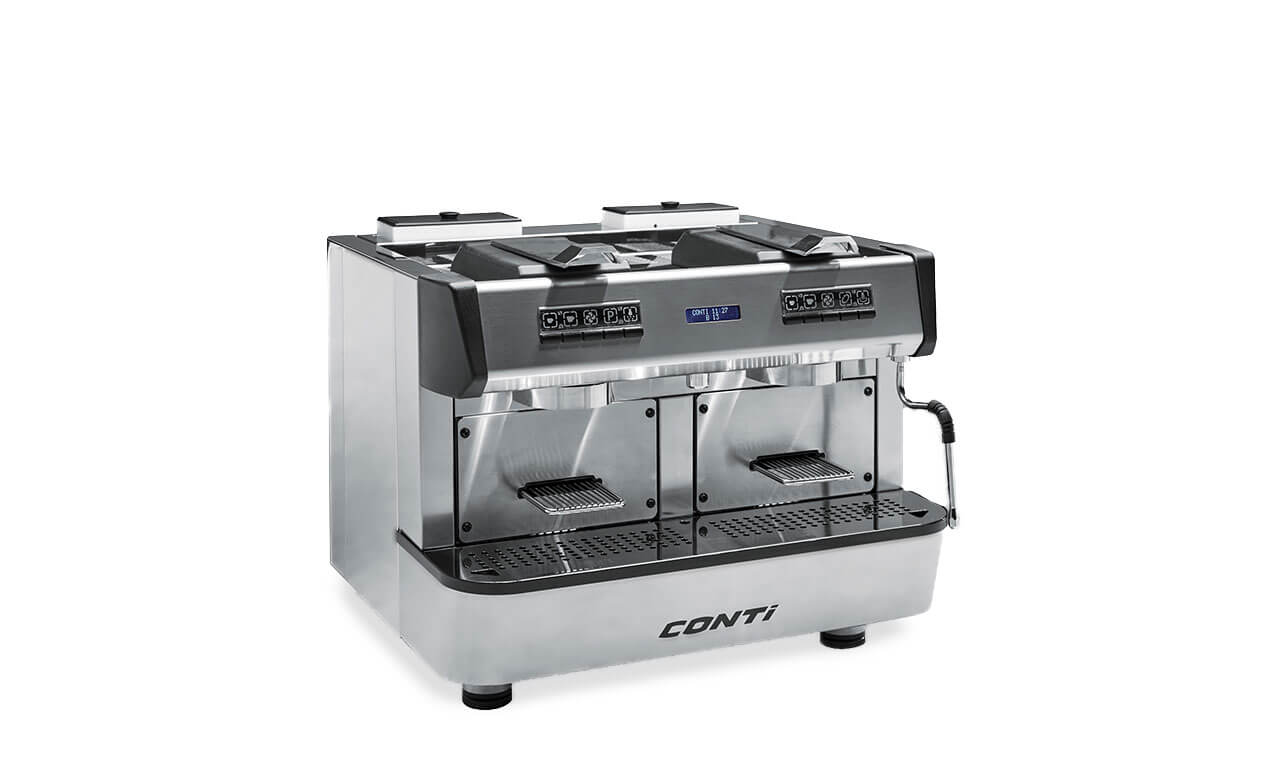 Conti Cap One commercial pod coffee machine with closed capsule holders right side view chrome model