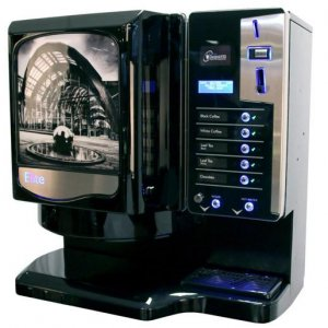 Darenth Elite commercial coffee machine left side view black model with design panel and illuminated payment system