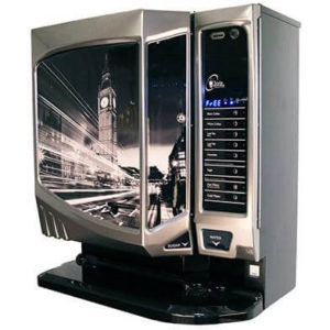 Darenth Style commercial coffee machine left side view black model with design panel and payment system