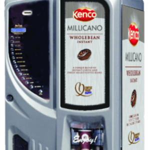 Darenth Venetian commercial coffee machine left side view with Kenco branding silver model
