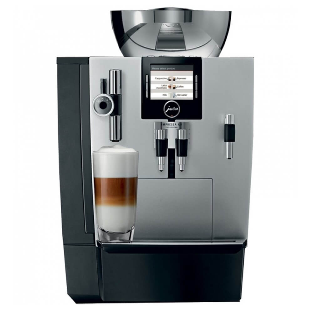 Jura XJ9 commercial coffee machine front view black and silver model