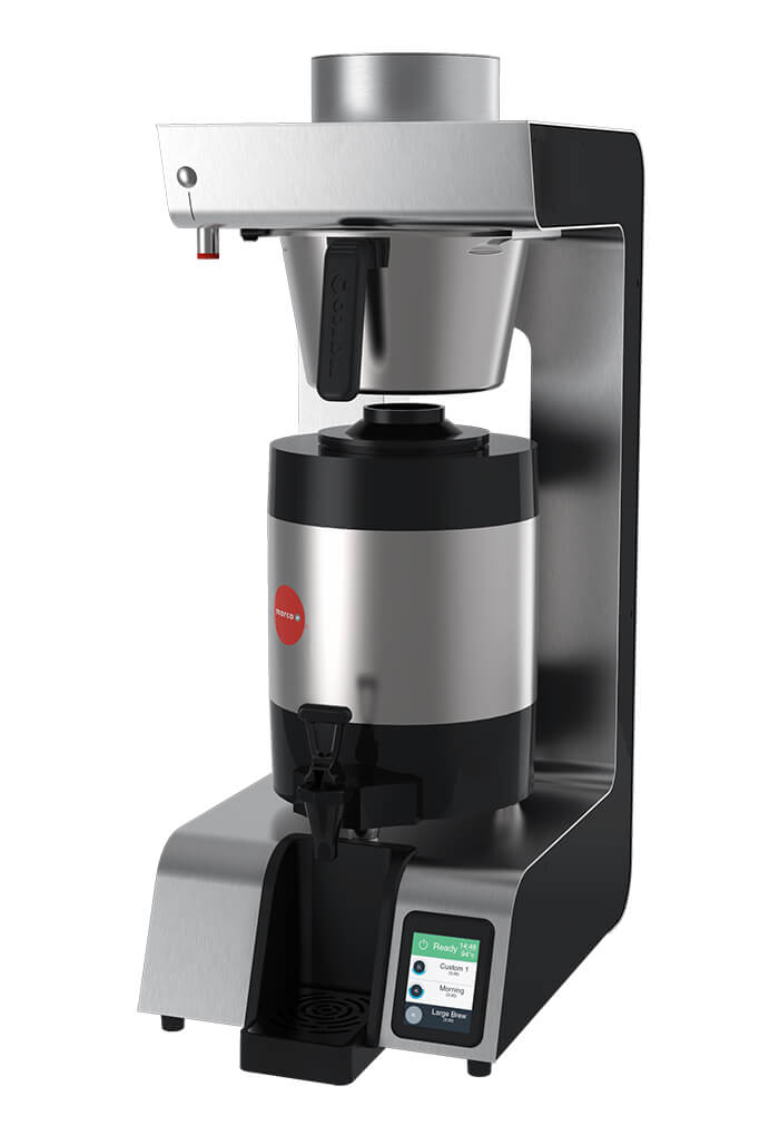Marco Jet6 Single commercial thermal brewer left side view black and silver model