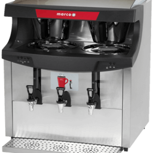 Marco Maxibrew Twin filter coffee machine with three dispensing taps silver model left side view