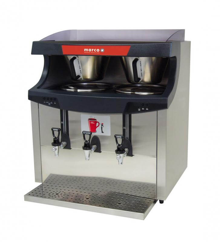 Marco Maxibrew Twin commercial filter coffee machine left side view close up silver model with three dispensing taps