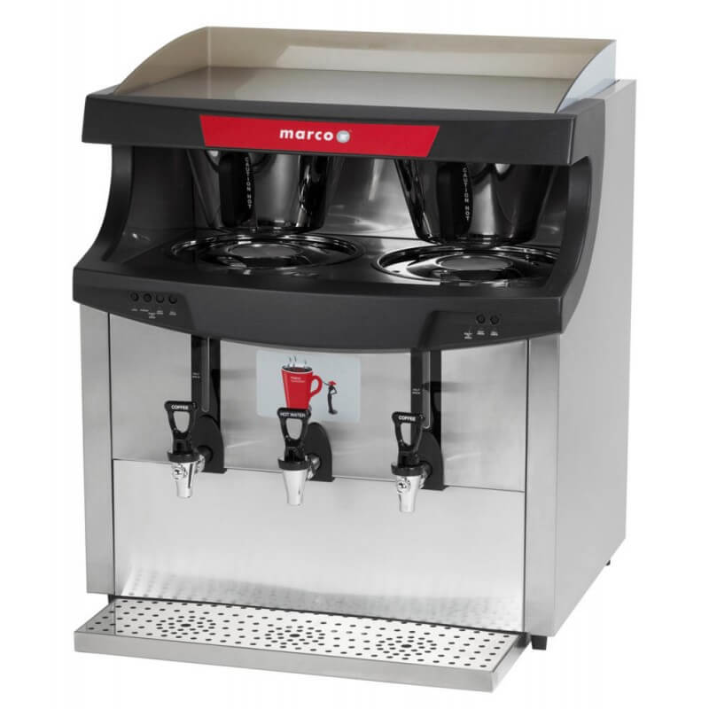 Marco Qwikbrew Twin commercial filter coffee machine close up left side view silver model
