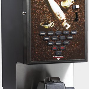 Matrix Expression commercial instant coffee machine with payment system right side view black and silver model with design panel