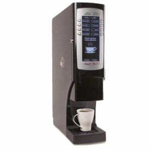 Matrix Mini Magnum bean to cup coffee machine right side view with dark screen user display