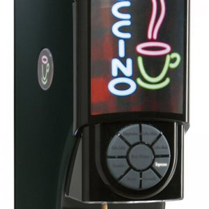 Matrix Mini Monarch commercial bean to cup coffee machine right side view close up black model with design panel