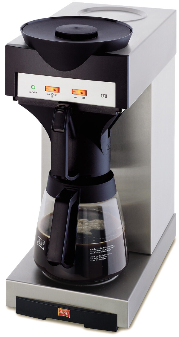 Melitta 170 round filter coffee machine left side view close up silver model with black detailing