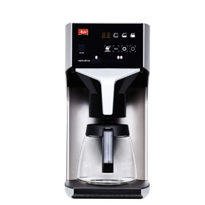 Melitta Cafina XT180 round filter commercial coffee machine front view silver and black model with touchscreen