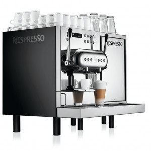 Nespresso Aguila 220 commercial pod coffee machine right side view silver and black model