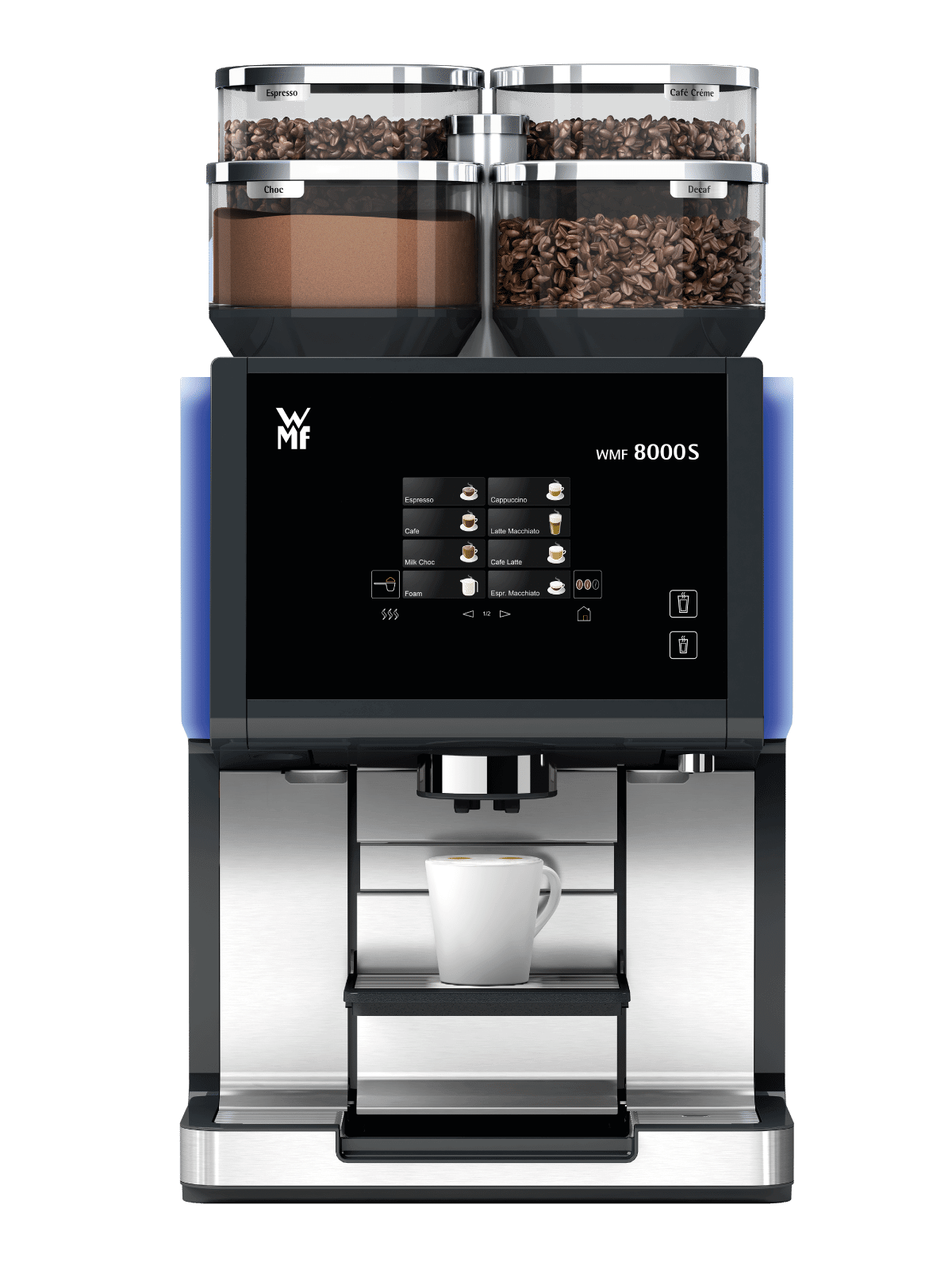 WMF 8000S commercial coffee machine front view black and silver model with large touchscreen