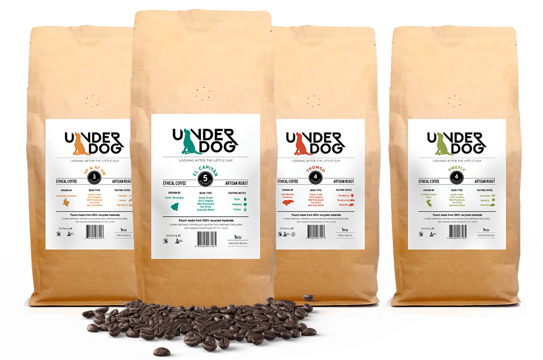 Underdog coffee roasts with coffee beans front view