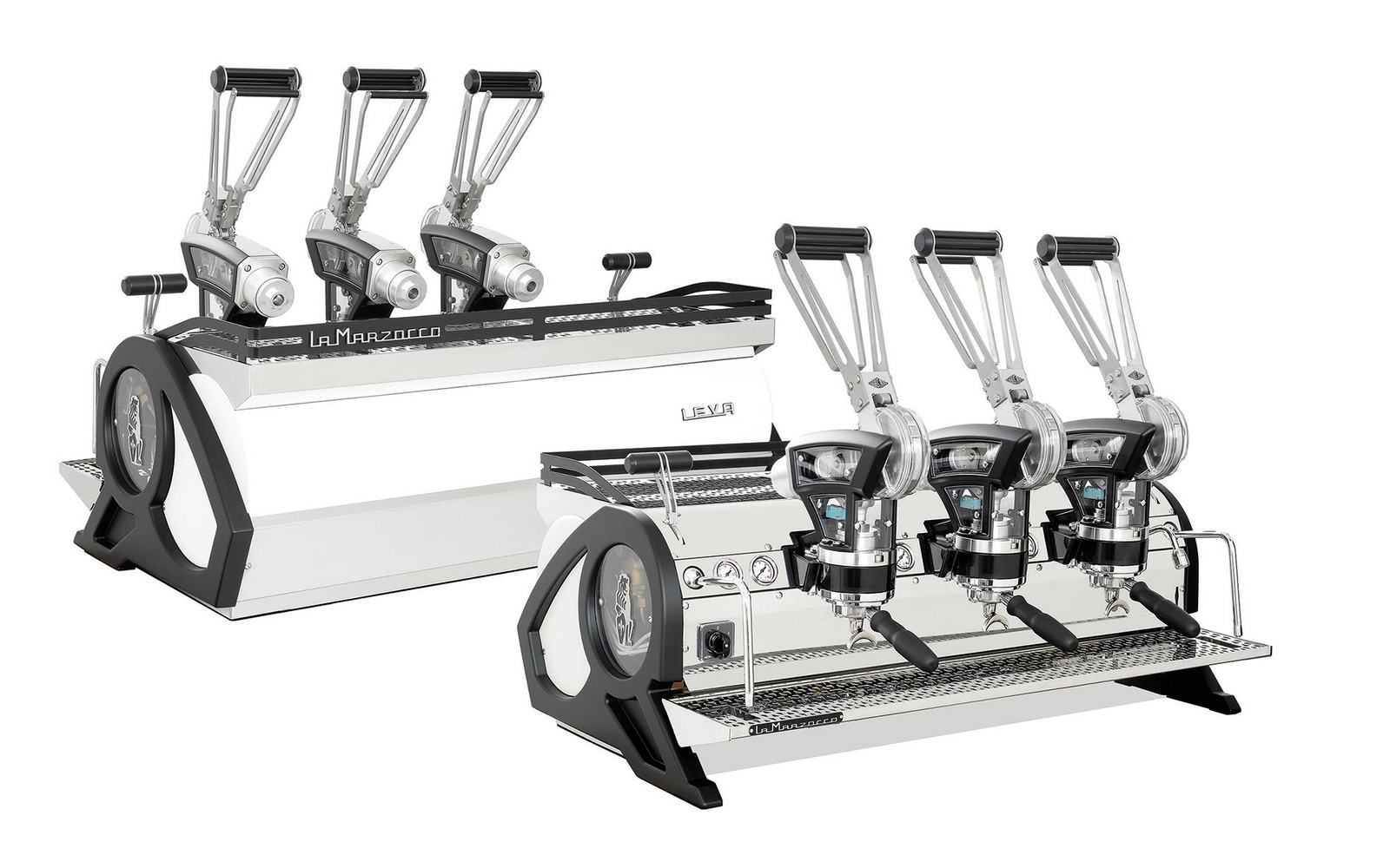 La Marzocco Leva S front and back view with 3 groups in stainless steel