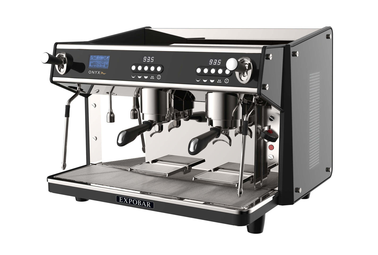 Expobar Onyx Pro 2 group espresso machine, side view in black and silver