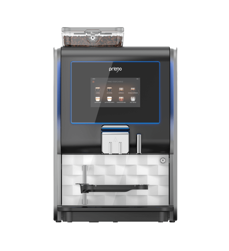 Westomatic Primo Compact bean to cup machine, front view in black
