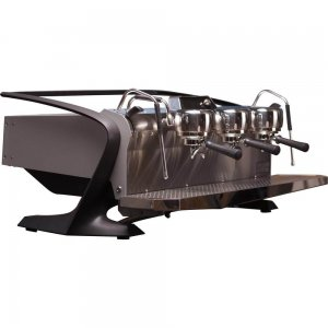 Slayer Steam EP espresso machine with 3 groups in grey, side view