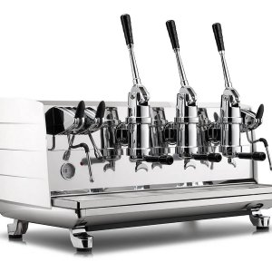 Victoria Arduino VA358 White Eagle Leva espresso machine in white, side view