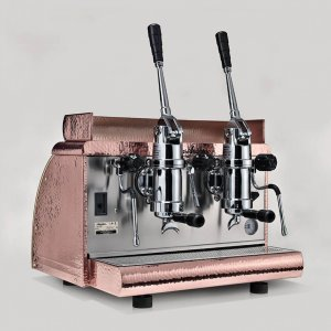 Victoria Arduino Adonis 2 group lever espresso machine in copper