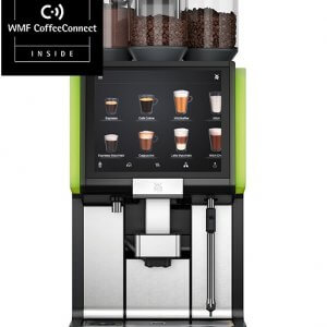 WMF 5000S+ bean to cup machine with CoffeeConnect and green illumination, front view